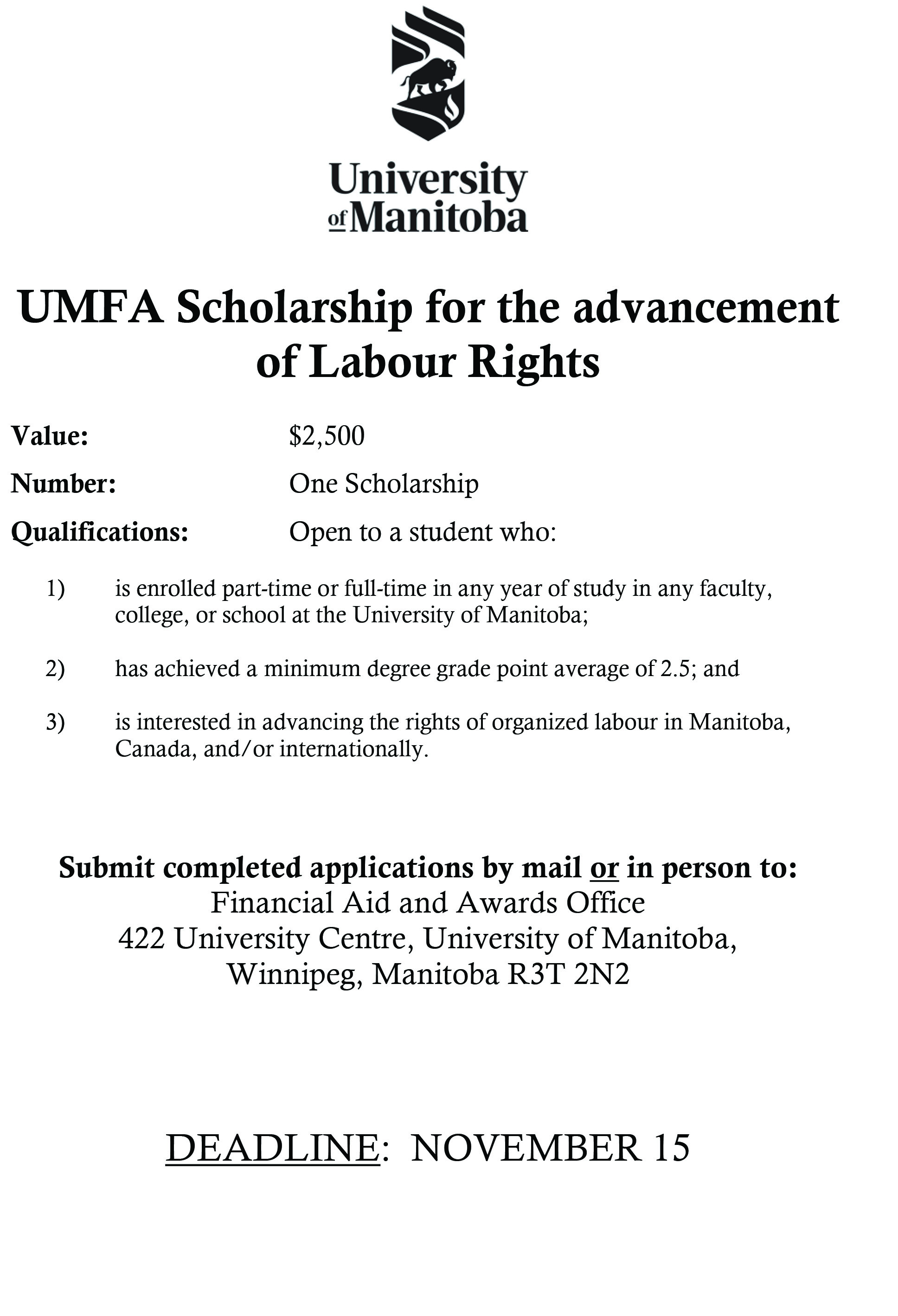 UMFA Scholarship for the Advancement of Labour Rights